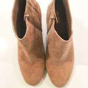 Nude booties with thick heel
